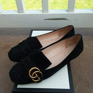Gucci Black Suede Leather Loafers Sz 39